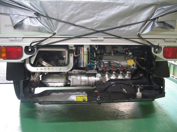 スバルサンバートラック用ワンオフマフラー取り付け 内部写真 メタルスピード