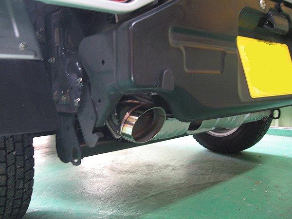 スバルサンバートラック用ワンオフマフラー 取り付け写真 テールパイプ2 メタルスピード