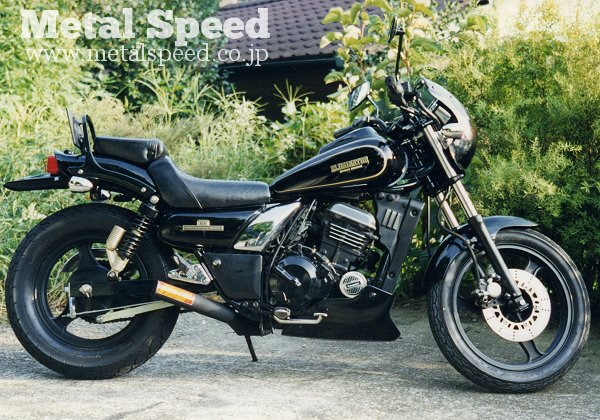 カワサキ・エリミネーター250用スーパーショートミニマフラー (スチール黒) by メタルスピード
