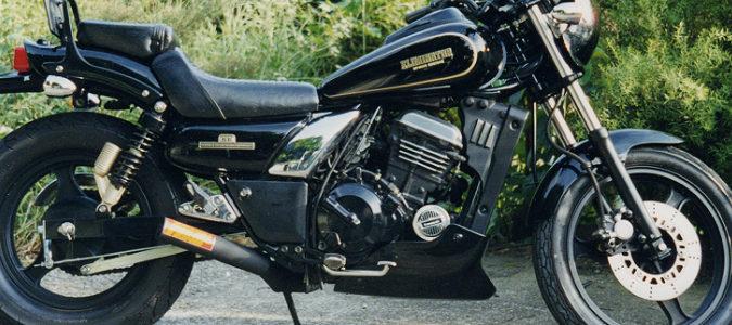 Kawasaki エリミネーター250用スーパーショートミニマフラー(スチール黒)
