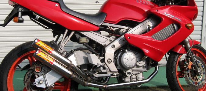 HONDA VT250スパーダ用スーパーショートデュアルマフラー(ステンレス)